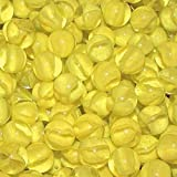 """Unique & Custom {5/8'' Inch} Set Of Approx 50 """"Round"""" Clear Marbles Made of Glass for Filling Vases, Games & Decor w/ Vibrant Sunny Lemon Tone Artistic Cats Eye Crystal Design [Bright Yellow]"""