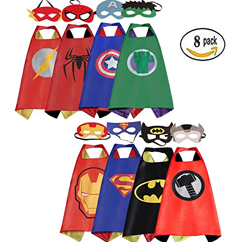 [Mizzuco  Cartoon Dress up Costumes Satin Capes with Felt Masks for Boys] (Girl Masks)