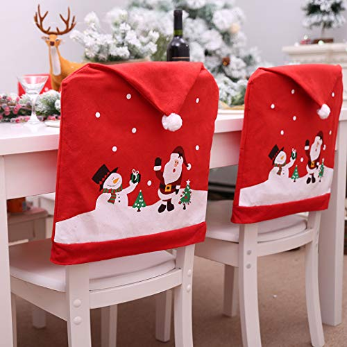 Outgeek Christmas Chair Cover Set of 4 PCS Chair Back Covers Santa Hat Dining Chair Slipcovers Decoration Snowman Printing Holiday Party Decor