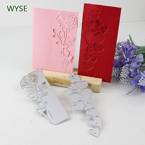 Embossing Die - Cutting Dies Flower and Heart Embossing Folder Stencil for Card Making (Pack of 2)