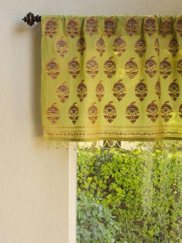 Memories of Shalimar ~ Asian Green Beaded Window Valance 46x17