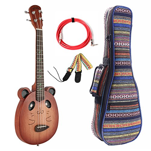 VIVICTORY Electric Tenor Ukulele VCE-T26 Mahogany Aquila nylon String with Gift Set Soft Case by VI VICTORY