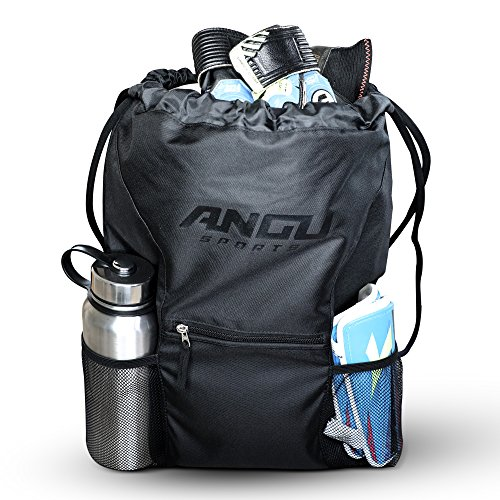 ANGU SPORTS Youth Soccer Bag with Ball Holder for Kids, Girls, Boys, Men & Women | Soccer Backpack Great for Basketball, Football, Gym Bag, Volleyball, Lacrosse | Drawstring Perfect for Sport (Black)