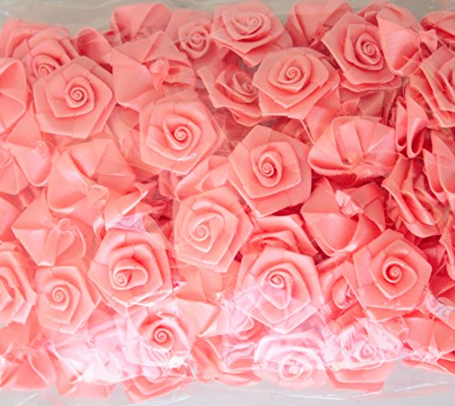 Satin Mini Roses Flowers Coral Pink Rolled Ribbon Rose for Crafts Appliqué Sewing 6/8 inch - 50 count