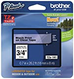 "Office Products : Brother Ptouch Genuine TZe-141, ~3/4"" (0.7"") Black on Clear Standard Laminated Tape 26.2ft(8m) (TZE141)"