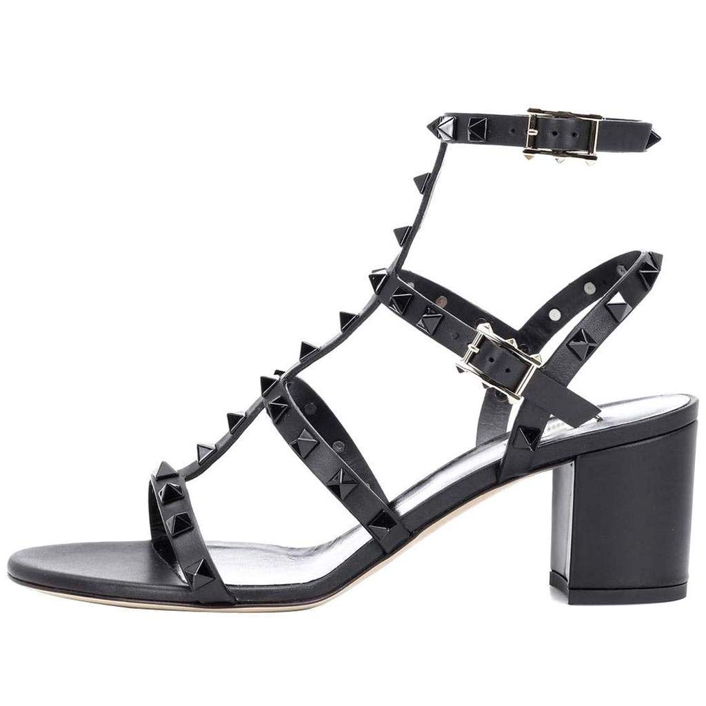 7d5572b027 Amazon.com | Comfity Leather Sandals for Women, Rivets Studded Strappy  Block Heels Slingback Gladiator Shoes Cut Out Dress Sandals | Heeled Sandals