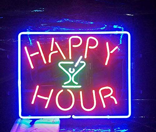 "(XPGOODUSA Happy Hour Neon Sign-17""×13"" for Home Bedroom Garage Decor Wall Light, Striking Neon Sign for Bar Pub Hotel Man Cave Recreational Game Room)"