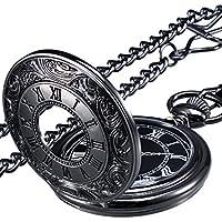 Mudder Vintage Roman Numerals Scale Quartz Pocket Watch with Chain (Black)