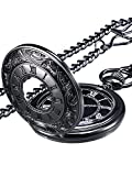 Mudder Vintage Roman Numerals Scale Quartz Pocket Watch with Chain (Black)