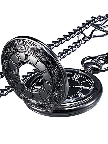 Black Quartz Pocket Watch - Mudder Vintage Roman Numerals Scale Quartz Pocket Watch with Chain (Black)