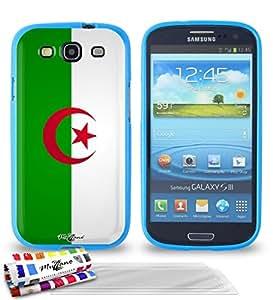 """Carcasa Flexible Ultra-Slim SAMSUNG GALAXY S3 de exclusivo motivo [Bandera Argelia] [Azul] de MUZZANO  + 3 Pelliculas de Pantalla """"UltraClear"""" + ESTILETE y PAÑO MUZZANO REGALADOS - La Protección Antigolpes ULTIMA, ELEGANTE Y DURADERA para su SAMSUNG GALAXY S3"""