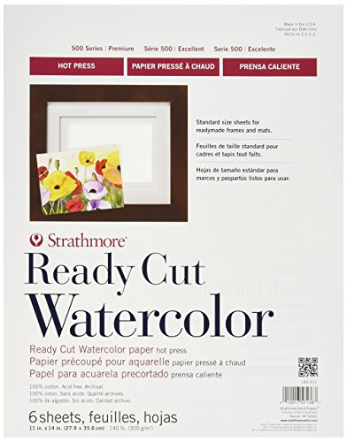 Strathmor Ready Cut Watercolor Paper, Hot Press, 11 by 14