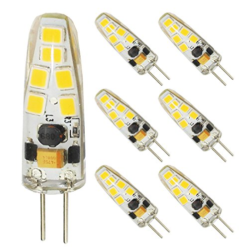 Dimmable LED G4 Bulb Mini Bi-pin Base Light Bulb AC DC 12V 10-20V 3Watt Daylight White 6000K-6500K jc Type T3 20W G4 Halogen Bulb Replacement(6-Pack)