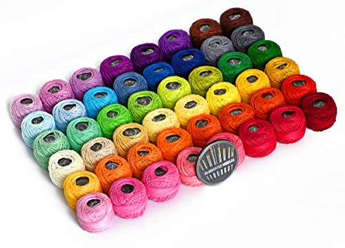 48 Crochet Thread Set Balls 100% Long-Staple Cotton Rainbow Colors of Size 8 Threadand Free 30 Golden Needles 48 Balls for Crochet Hardanger Cross Stitch Needlepoint Hand -