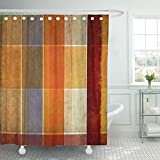 Burnt Orange Shower Curtain Emvency Shower Curtains 66 x 72 Inches Orange Burnt Geometric with Earthy Useful Design Blue Abstract Abstraction Age Waterproof Polyester Fabric Bath Decoration for Bathroom Curtain Sets with Hooks