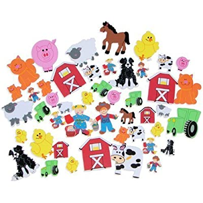 "100 ~ Farm Barnyard Foam Stickers / Shapes ~ Approx. 1""-2"" ~ New ~ Tractor, Sheep, Cow, Horse, Pig, Chicken, Cat, Dog"