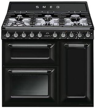 Smeg TR93P - Cocina (Cocina independiente, Crema de color, Botones, Giratorio, Electrónico, Esmalte, Encimera de gas)