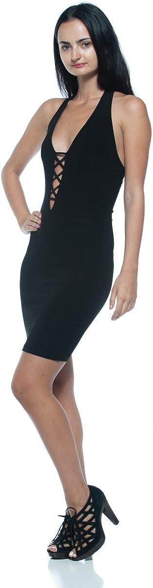 Womens Black Cage Cutout Plunge Low-Cut Neck Halter Bodycon Club Party Dress
