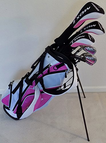 Ladies Left Handed Complete Golf Set Driver, Fairway Wood, Hybrid, Irons, Putter, Clubs and Stand Bag Womens Clubs Set LH