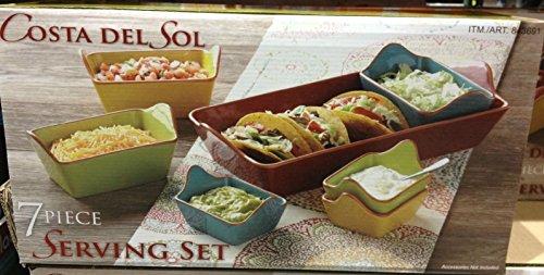 Costa Del Sol 7 Piece Mutli Color Stoneware Serving Set