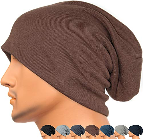Rayna Fashion Men Women Summer Thin Slouchy Long Beanie Hat Cool Baggy Skull Cap Stretchy Knit Hat Lightweight Brown