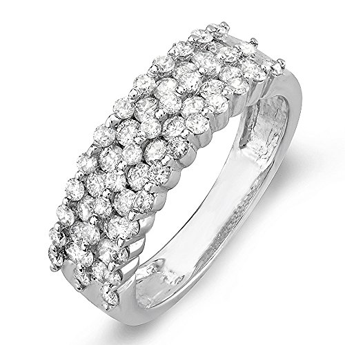 (Dazzlingrock Collection 1.00 Carat (ctw) 14K Round White Diamond Bridal Anniversary Wedding Band Ring 1 CT, White Gold, Size 8)