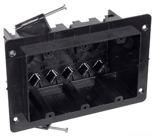 Carlon NG-354-V Outlet Box, New Work, 3 Gang, 3-1/2-Inch Length by 5-3/4-Inch Width by 3-1/4-Inch Depth, Black