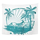 Breezat Tapestry Surf Tropical Grunge Rubber Stamp with Palms and Surfer Tree Home Decor Wall Hanging for Living Room Bedroom Dorm 50x60 Inches