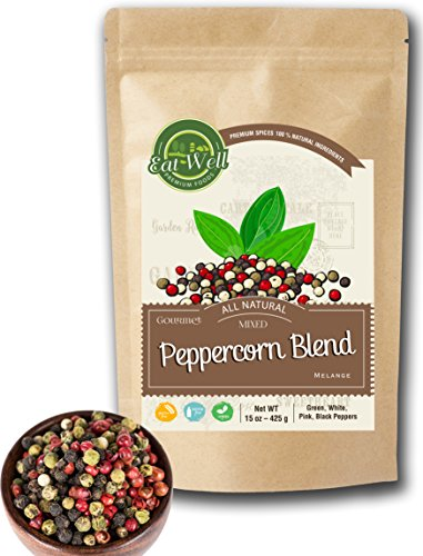 Four Peppercorns Blend | 15 oz Reseable Bag , Bulk | Premium Grade , Freshly Packed , Whole Black , Pink , Green , White Multi Color Pepper Corsn For Grinders Refill
