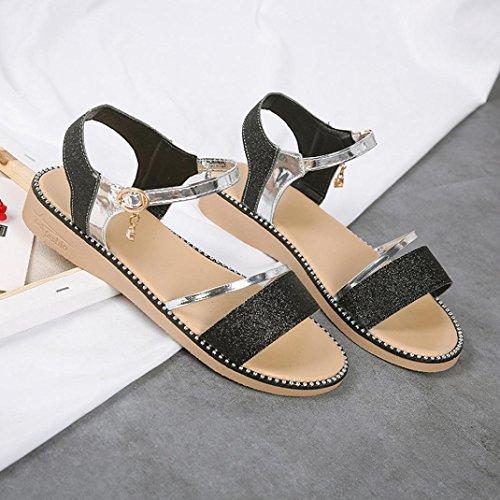 Mode Plat Sandales Boucle Femme Bohème Chaussures Noir Plage Anti Pantoufles Rome Talon Sandales de Été Plat JIANGfu Sequins Chaussures Dérapage w4XB5vxq