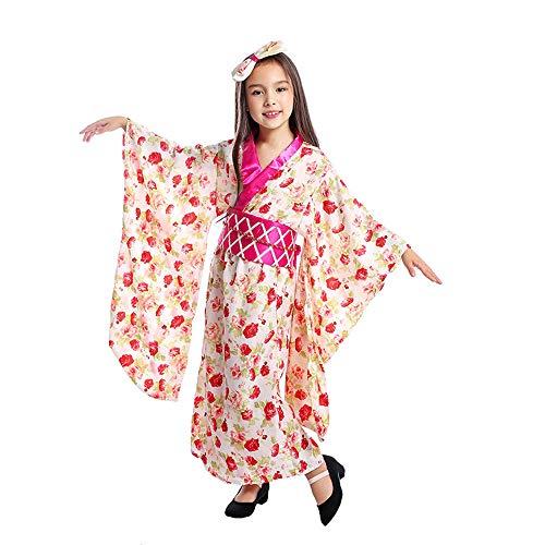 Girl Kimono Dress Japanese Floaral Dress Robe Child Geisha Cosplay Vintage Asia Yukata Kids Costumes (Japanese Kimono, L)