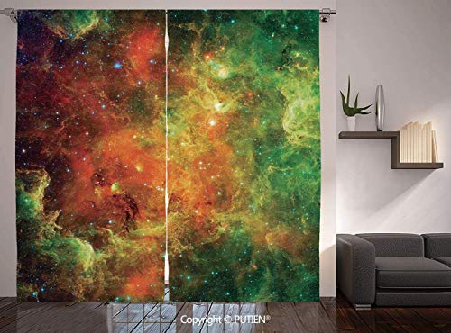 (Thermal Insulated Blackout Window Curtain [ Space Decorations,North American and Pelican Nebula Gas Cosmic Planetary Object in Outer Space Decor,Orange Green ] for Living Room Bedroom Dorm Room Classr)