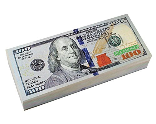 "BEST REAL LOOKING PLAY MONEY, Real Color Double Sided, Smaller Size 4.8"" x 2"", 4 packs of $100 Bills, The #1 Seller For Education, Play, Fun, Props"