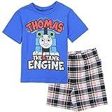 Thomas and Friends Little Boys' Toddler 2 Piece Plaid Shorts Set, Blue (2T)