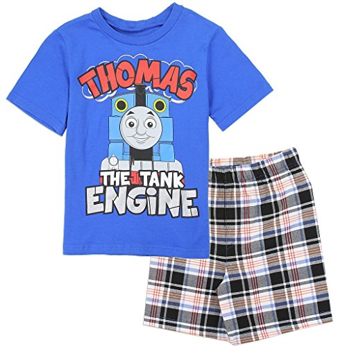Crewneck Train (Thomas and Friends Little Boys' Toddler 2 Piece Plaid Shorts Set, Blue (2T))