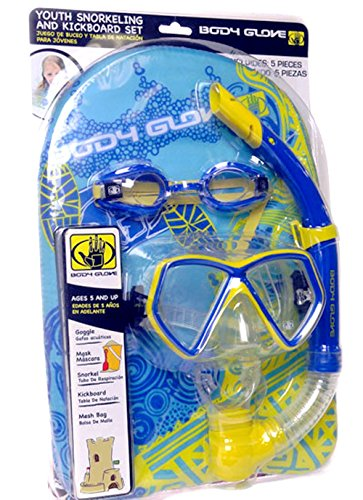 Body Glove Youth Snorkeling,Mask and KickBoard (5 Pieces Set) ()
