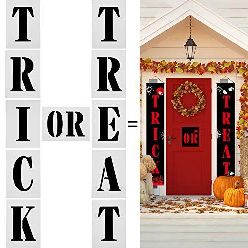 Halloween Sign Stencils (8 Pieces Halloween Trick or Treat Sign Stencils Halloween Porch Sign Stencils Reusable Plastic Templates for Painting on Wood DIY Halloween Decor, 7 x 5)