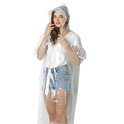 1x L Impermeable súper Transparente para Las Mujeres Forman EVA Impermeable de la Lluvia del Poncho Reutilizable Escudo con la Capilla del Lazo: Hogar