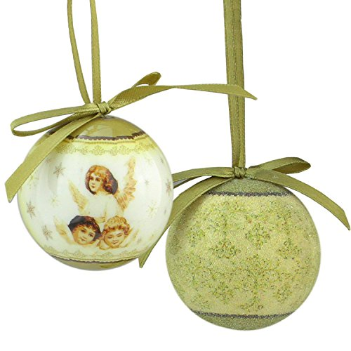Northlight 12-Piece Angel Decoupage Shatterproof Christmas Ball Ornament Set 1.75