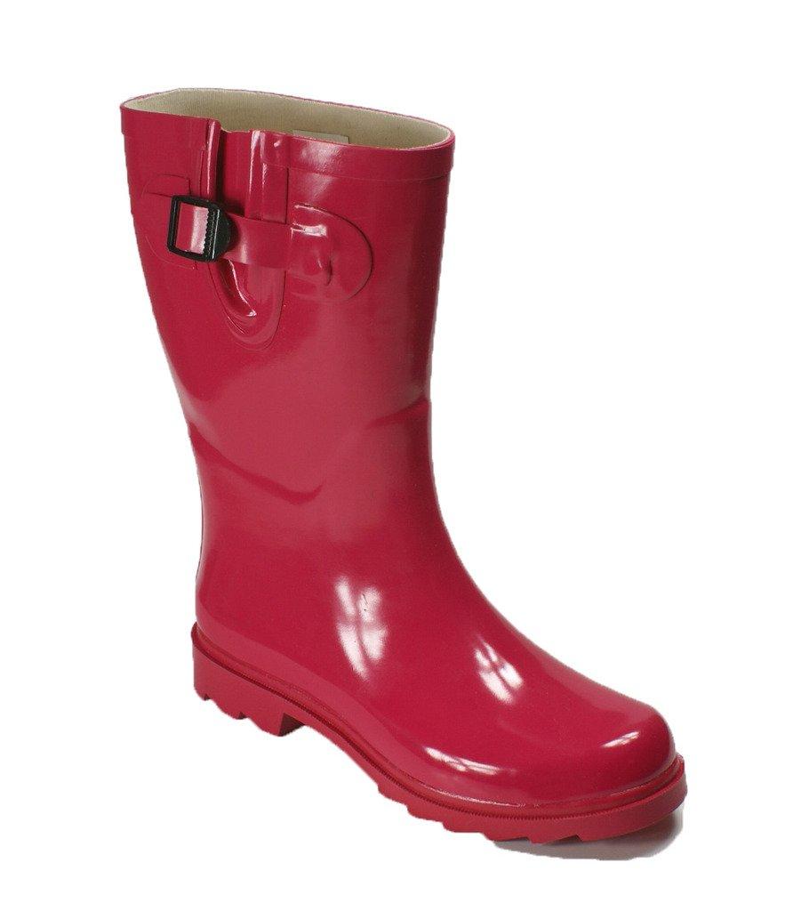 OwnShoe Womens Mutiple Styles Rain Snow Winter Flat Rubber Mid Calf Short Rainboot, Pink, 8 D(M) US