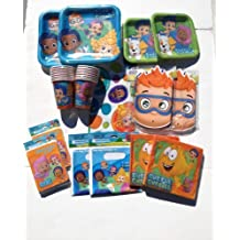 Deluxe Bubble Guppies Party Supplies for 16 Guests (Cups, Plates, Table Cover, Invitations, Napkins, Masks, Loot Bags) by Designware
