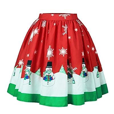 Ytwysj Women Elastic Pleated Ugly Christmas Printed Knee Length Stretchy Flared Party Mini Skater Skirt for Girls