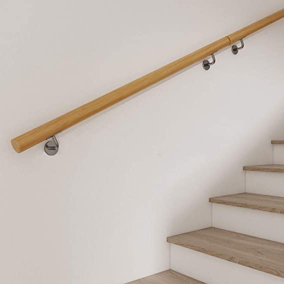 Balaustres de Escalera de Madera Juego Completo de barandillas de pasamanos -Seleccionar Longitud: 50~600 cm | Barra de Equilibrio del baño Manija de la Puerta Barra de Soporte Barra de sujeción: Amazon.es: