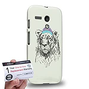 Case88 [Motorola Moto G (1st Gen)] 3D impresa Carcasa/Funda dura para & Tarjeta de garantía - Art Design Lion Personate Animals