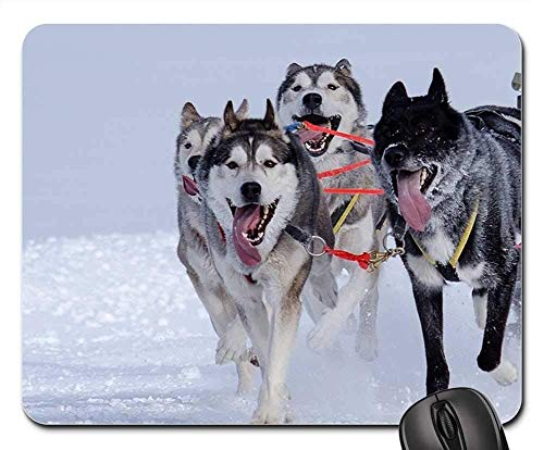 Gaming Mouse Pads,Mouse mat,Huskies Sled Dog Racing Sled Race Winter Sports