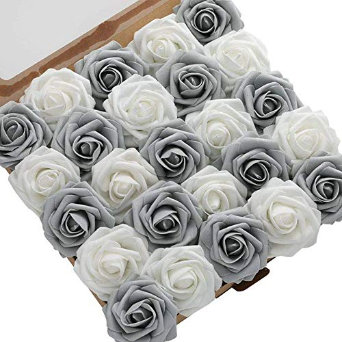 DerBlue 60pcs Artificial Roses Flowers Real Looking Fake Roses Artificial Foam Roses Decoration DIY for Wedding Bouquets Centerpieces,Arrangements Party Home Decorations (Shimmer Silver&Grey)