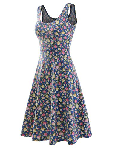 NEARKIN Womens Figure-Hugging U-Neck Floral Pattern Sleeveless Dress