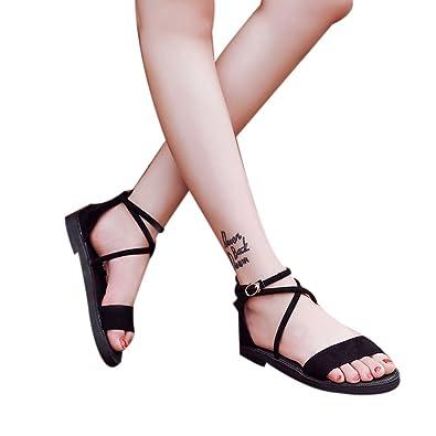 c5c4cd7277c63 Ruhiku GW 2018 Women Flat Sandals Cross Straps Open Toe Buckle Low Heel  Sandals Wedge Summer