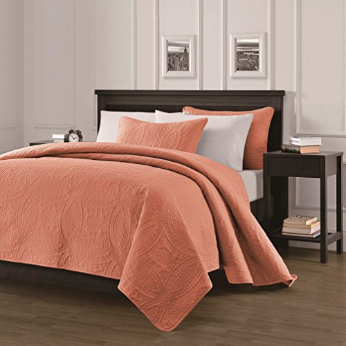 Chezmoi Collection Austin 3-piece Oversized Bedspread Coverlet Set (King, Salmon) (Comforter King Set Collection)