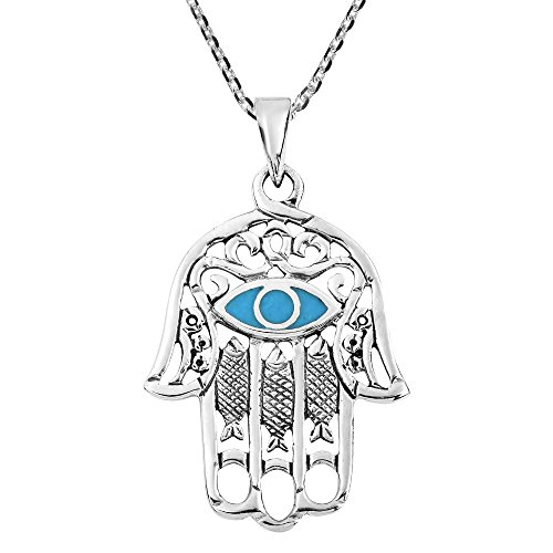 (AeraVida Hamsa Hand with Evil Eye Simulated Turquoise Inlaid .925 Sterling Silver Pendant Necklace)